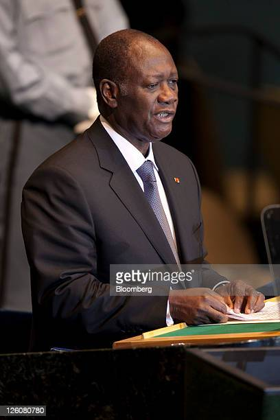 Alassane Ouattara president of Cote D'Ivoire speaks during the 66th annual United Nations General Assembly at the UN in New York US on Thursday Sept...