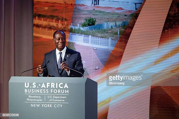Alassane Ouattara president of Cote D'Ivoire speaks during the USAfrica Business Forum in New York US on Wednesday Sept 21 2016 The forum focuses on...