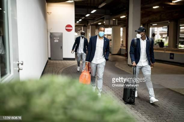 Alassane Plea and Breel Embolo of Borussia Moenchengladbach are seen during Borussia Moenchengladbach departs to the Group B UEFA Champions League...