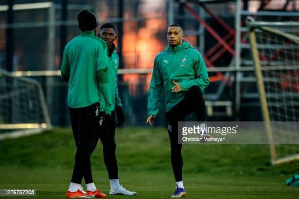 Alassane Plea Breel Embolo and Marcus Thuram are seen during a Borussia Moenchengladbach Training session ahead the Group B UEFA Champions League...