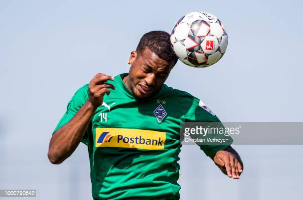 Alassane Plea in action during a training session of Borussia Moenchengladbach at BorussiaPark on July 17 2018 in Moenchengladbach Germany