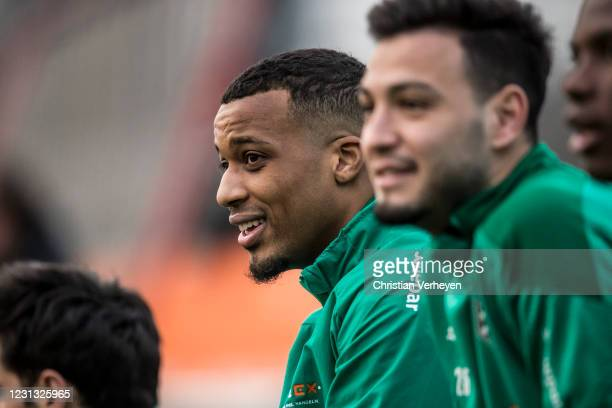 Alassane Plea is seen during a Training session of Borussia Moenchengladbach at Borussia-Park on February 22, 2021 in Moenchengladbach, Germany.