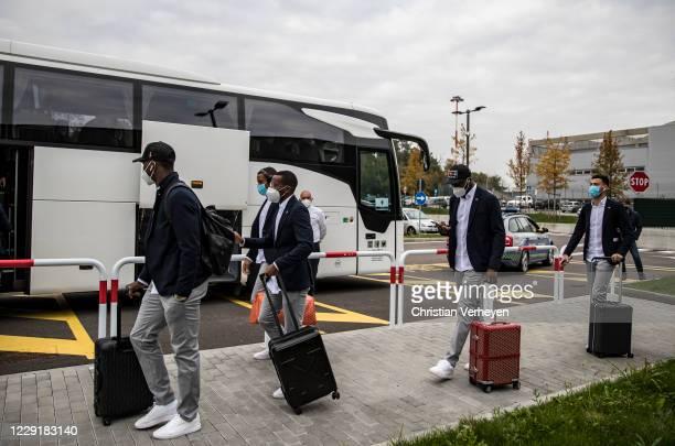 Alassane Plea, Marcus Thuram, Breel Embolo, Ibrahima Traore are seen during Borussia Moenchengladbach departs to the Group B - UEFA Champions League...