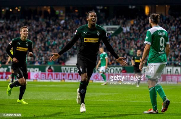 Alassane Plea of Borussia Moenchengladbach celebrate after he score his teams first goal during the Bundesliga match between SV Werder Bremen and...
