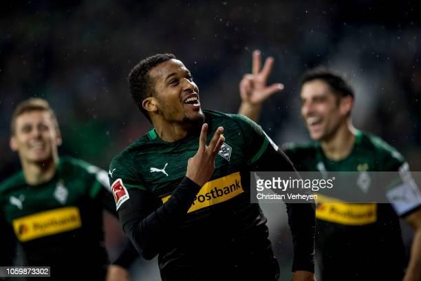 Alassane Plea of Borussia Moenchengladbach celebrate after he score his teams third goal during the Bundesliga match between SV Werder Bremen and...