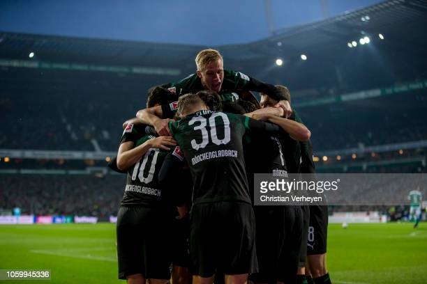 Alassane Plea of Borussia Moenchengladbach celebrate after he score his teams second goal during the Bundesliga match between SV Werder Bremen and...