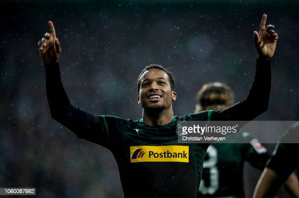 Alassane Plea of Borussia Moenchengladbach celebrate after he score his teams third goal during the Bundesliga match between SV Werder Bremen and...