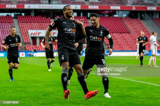 Alassane Plea of Borussia Moenchengladbach celebrate after he score his teams first goal during the Bundesliga match between 1. FC Koeln and Borussia...
