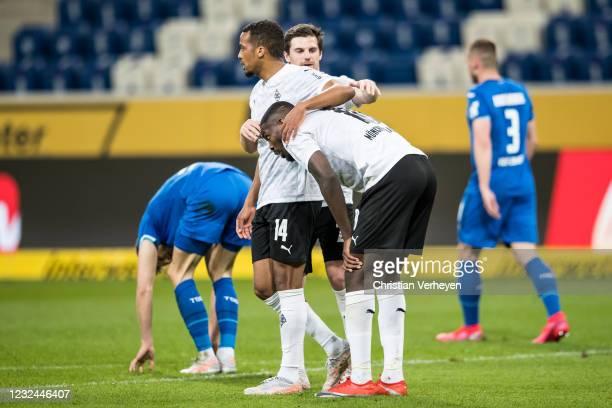 Alassane Plea of Borussia Moenchengladbach celebrate after he score his teams first goal during the Bundesliga match between TSG 1899 Hoffenheim and...