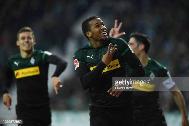 Alassane Plea of Borussia Moenchengladbach celebrates after scoring his team's third goal the Bundesliga match between SV Werder Bremen and Borussia...