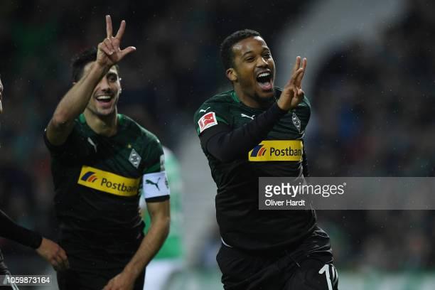 Alassane Plea of Borussia Moenchengladbach celebrates after scoring his team's third goal the Bundesliga match between SV Werder Bremen and Borussia...