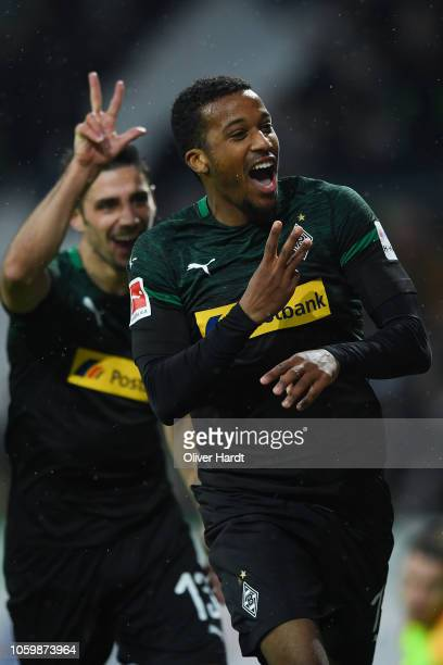 Alassane Plea of Borussia Moenchengladbach celebrates after scoring his team's third goal during the Bundesliga match between SV Werder Bremen and...