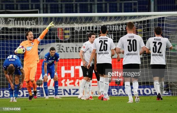 Alassane Plea of Borussia Moenchengladbach celebrates after scoring his team's first goal during the Bundesliga match between TSG Hoffenheim and...