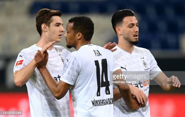Alassane Plea of Borussia Moenchengladbach celebrates after scoring their side's first goal during the Bundesliga match between TSG Hoffenheim and...