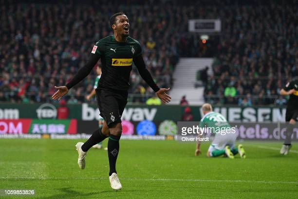 Alassane Plea of Borussia Moenchengladbach celebrates with after scoring their first goal during during the Bundesliga match between SV Werder Bremen...