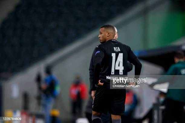 Alassane Plea of Borussia Moenchengladbach comes on the pitch during the Group B UEFA Champions League match between Borussia Moenchengladbach and...