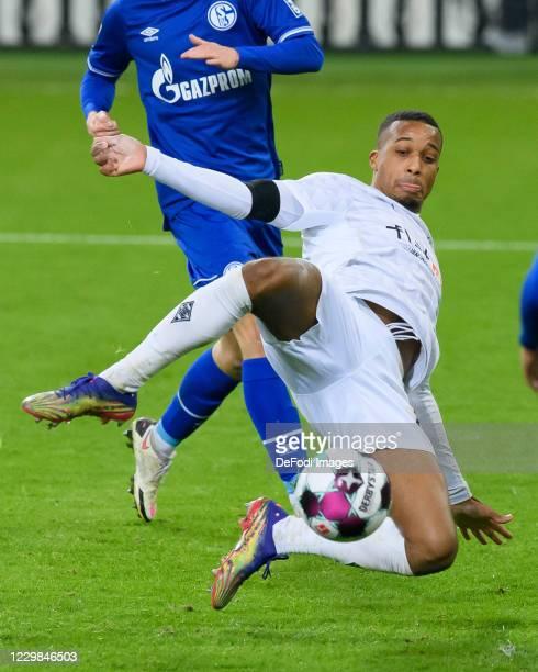Alassane Plea of Borussia Moenchengladbach controls the ball during the Bundesliga match between Borussia Moenchengladbach and FC Schalke 04 at...