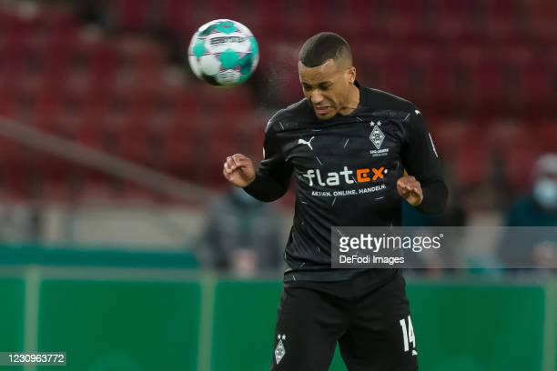 Alassane Plea of Borussia Moenchengladbach controls the Ball during the DFB Cup Round of Sixteen match between VfB Stuttgart and Borussia...