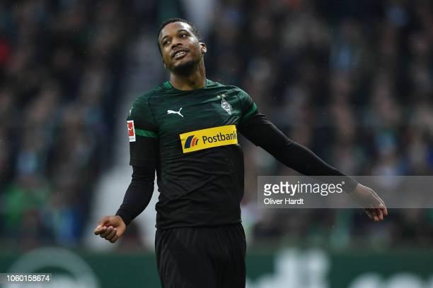 Alassane Plea of Borussia Moenchengladbach gesticulated during the Bundesliga match between SV Werder Bremen and Borussia Moenchengladbach at...