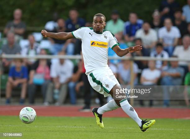 Alassane Plea of Borussia Moenchengladbach in action during the DFB Cup first round match between BSC Hastedt and Borussia Moenchengladbach at...