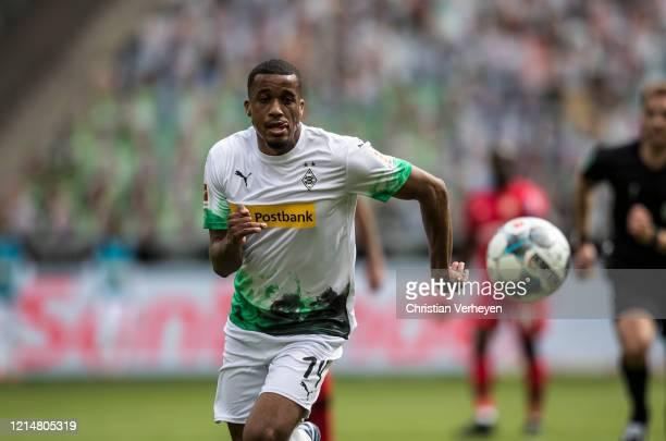 Alassane Plea of Borussia Moenchengladbach in action during the Bundesliga match between Borussia Moenchengladbach and Bayer 04 Leverkusen at...