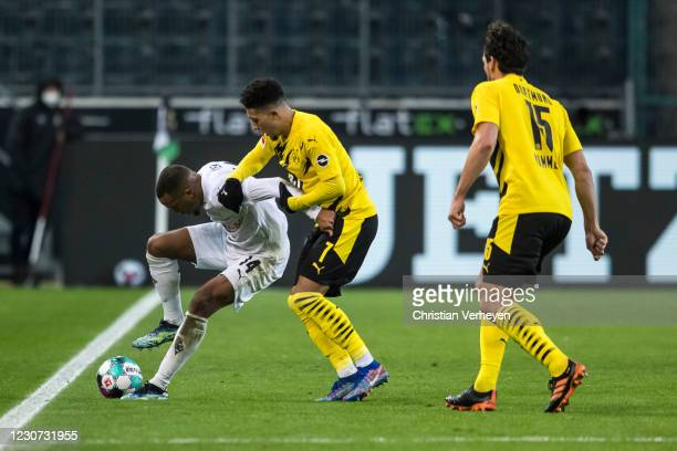 Alassane Plea of Borussia Moenchengladbach in action during the Bundesliga match between Borussia Moenchengladbach and Borussia Dortmund at...
