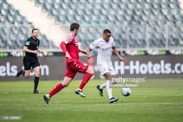 Alassane Plea of Borussia Moenchengladbach in action during the Bundesliga match between Borussia Moenchengladbach and 1. FSV Mainz 05 at...