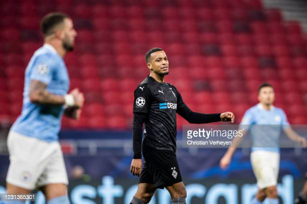 Alassane Plea of Borussia Moenchengladbach in action during the UEFA Champions League Round Of 16 Leg One match between Borussia Moenchengladbach and...