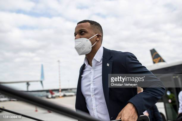 Alassane Plea of Borussia Moenchengladbach is seen as the team travel to Budapest for their upcoming UEFA Champions League match, at Airport...