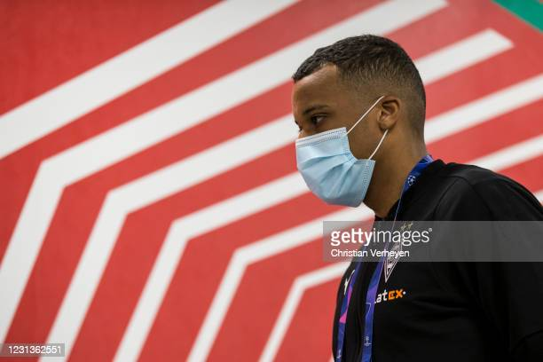 Alassane Plea of Borussia Moenchengladbach is seen before the UEFA Champions League Round Of 16 Leg One match between Borussia Moenchengladbach and...