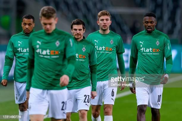 Alassane Plea of Borussia Moenchengladbach, Jonas Hofmann of Borussia Moenchengladbach, Christoph Kramer of Borussia Moenchengladbach and Marcus...