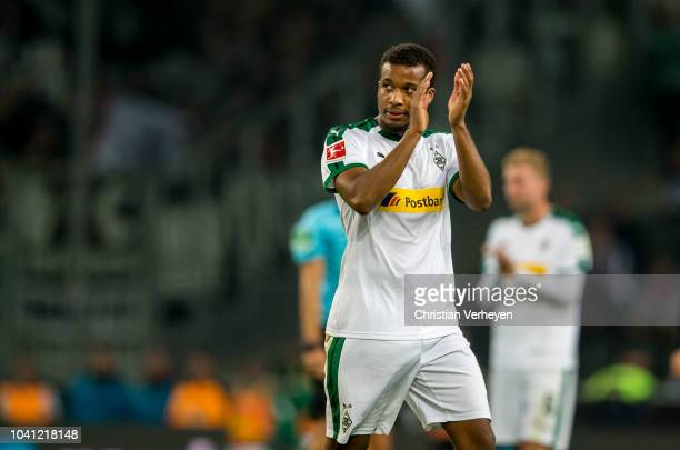 Alassane Plea of Borussia Moenchengladbach leaves the pitch during the Bundesliga match between Borussia Moenchengladbach and Eintracht Frankfurt at...