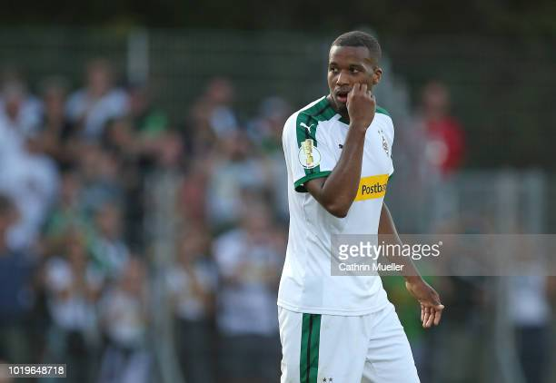 Alassane Plea of Borussia Moenchengladbach looks on during the DFB Cup first round match between BSC Hastedt and Borussia Moenchengladbach at stadium...