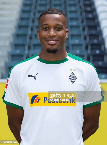 Alassane Plea of Borussia Moenchengladbach poses during the team presentation at Borussia Park on August 2 2018 in Moenchengladbach Germany