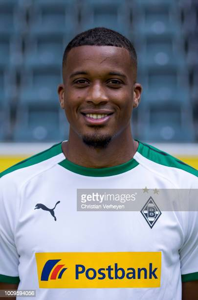 Alassane Plea of Borussia Moenchengladbach poses during the Team Presentation of Borussia Moenchengladbach at BorussiaPark on August 02 2018 in...