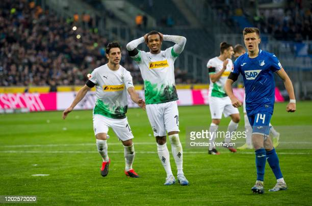Alassane Plea of Borussia Moenchengladbach reacts after he missed a penalty during the Bundesliga match between Borussia Moenchengladbach and TSG...