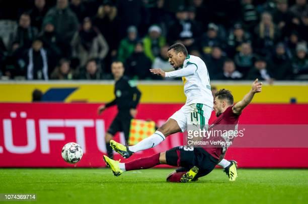 Alassane Plea of Borussia Moenchengladbach scores a goal for his team during the Bundesliga match between Borussia Moenchengladbach and 1FC Nuernberg...