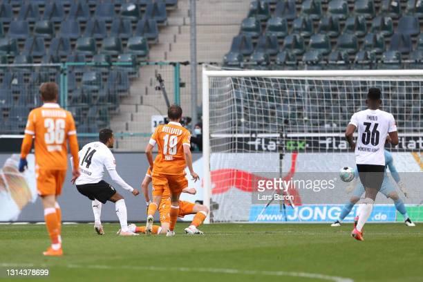 Alassane Plea of Borussia Moenchengladbach scores their teams fifth goal during the Bundesliga match between Borussia Moenchengladbach and DSC...