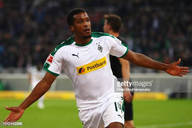 Alassane Plea of Borussia Monchengladbach celebrates scoring his teams first goal of the game during the Bundesliga match between Borussia...
