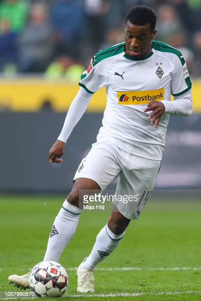 Alassane Plea of Borussia Monchengladbach controls the ball during the Bundesliga match between Borussia Moenchengladbach and Fortuna Duesseldorf at...