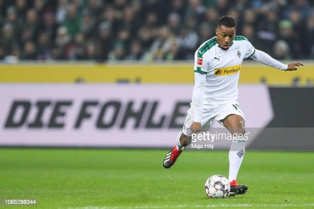 Alassane Plea of Borussia Monchengladbach controls the ball during the Bundesliga match between Borussia Moenchengladbach and Hannover 96 at...