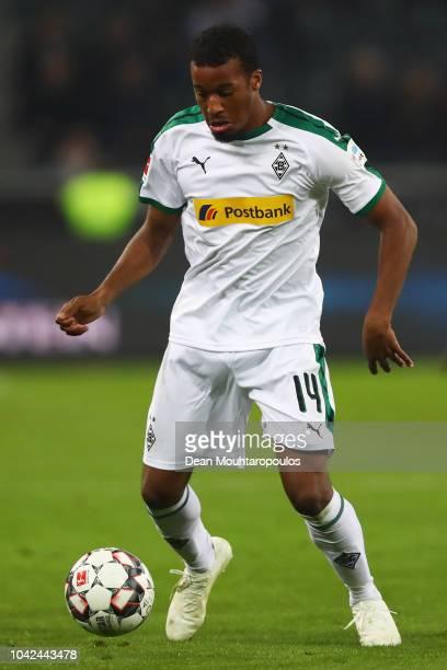 Alassane Plea of Borussia Monchengladbach in action during the Bundesliga match between Borussia Moenchengladbach and Eintracht Frankfurt at...