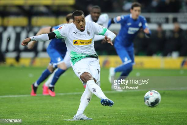 Alassane Plea of Borussia Monchengladbach misses a penalty during the Bundesliga match between Borussia Moenchengladbach and TSG 1899 Hoffenheim at...