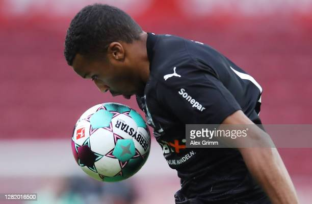 Alassane Plea of Moenchengladbach controls the ball during the Bundesliga match between 1. FSV Mainz 05 and Borussia Moenchengladbach at Opel Arena...