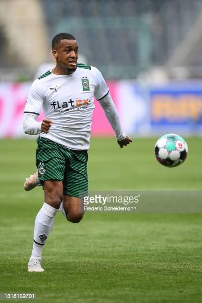 Alassane Plea of Moenchengladbach during the Bundesliga match between Borussia Moenchengladbach and VfB Stuttgart at Borussia-Park on May 15, 2021 in...