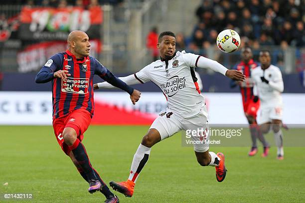 Alassane Plea of Nice and Ala Eddine Yahia of Caen during the Ligue 1 match between SM Caen and OGC Nice at Stade Michel D'Ornano on November 6 2016...