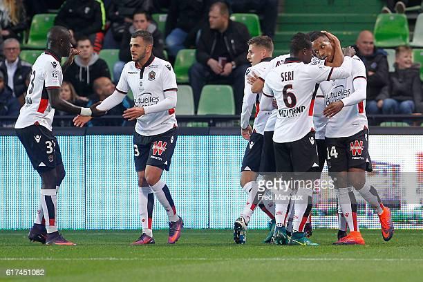 Alassane Plea of Nice celebrates scoring his goal during the Ligue 1 match between Metz and Nice at Stade SaintSymphorien on October 23 2016 in Metz...