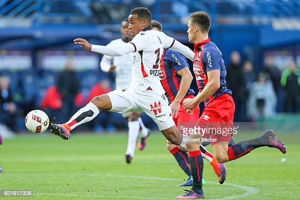 Alassane Plea of Nice during the Ligue 1 match between SM Caen and OGC Nice at Stade Michel D'Ornano on November 6, 2016 in Caen, France.