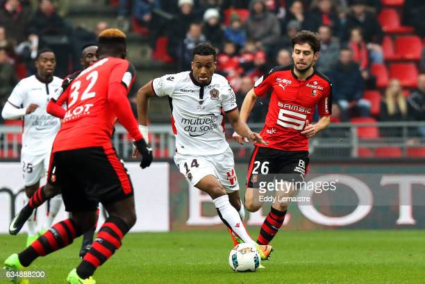 Alassane Plea of Nice during the Ligue 1 match between Stade Rennais and OGC Nice at Roazhon Park on February 12 2017 in Rennes France