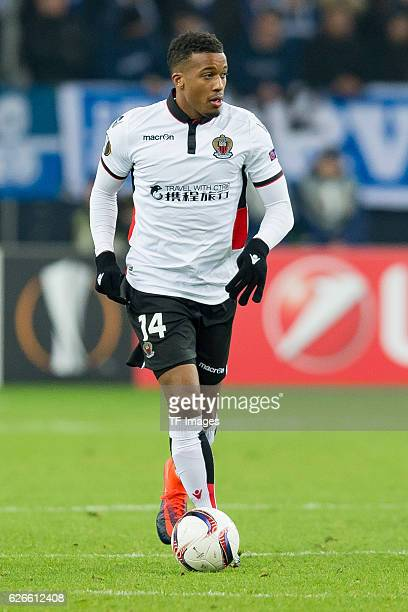 Alassane Plea of OGC Nice in action during the Europa League First Qualifying Round 2nd Leg match between FC Schalke 04 and OGC Nice at VeltinsArena...